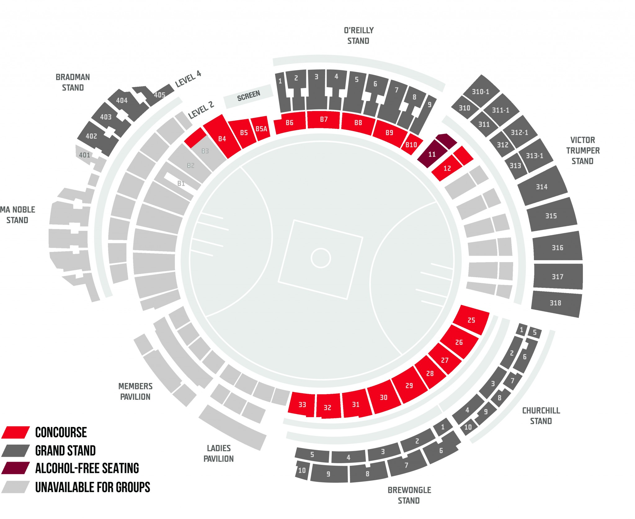 SCG Group Ticketing Map